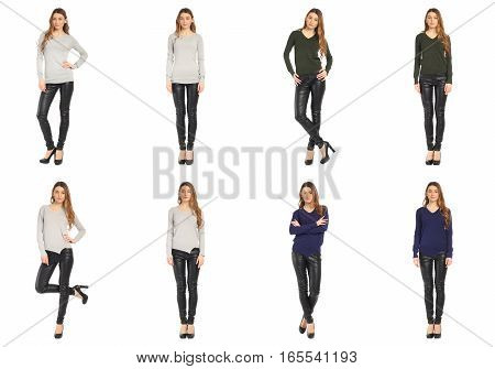 Set of photos in fashion concept on white