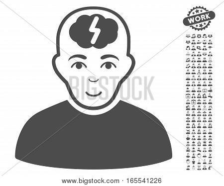 Clever Boy icon with bonus men design elements. Vector illustration style is flat iconic gray symbols on white background.