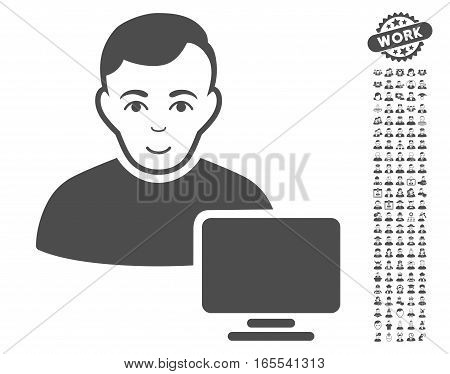 Computer Administrator pictograph with bonus men icon set. Vector illustration style is flat iconic gray symbols on white background.