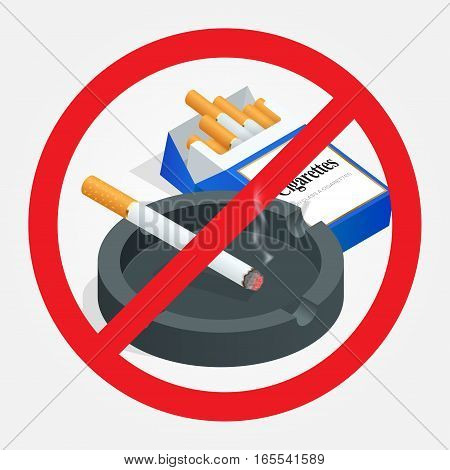 No smoking sign on white background. Sign forbidding smoking. Healthy lifestyle. The risk to health