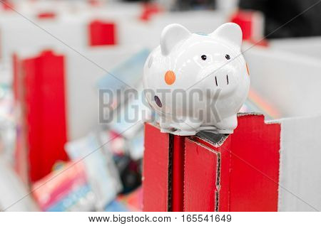 little pig piggy bank on top of a supermarket