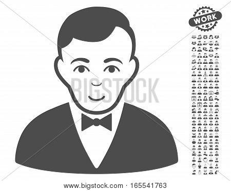 Dealer icon with bonus human symbols. Vector illustration style is flat iconic gray symbols on white background.