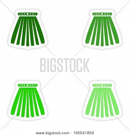 concept stylish paper sticker on white background skirt