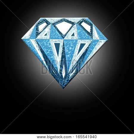 A blue diamond. Diamond illustration in a flat style. faceted gem
