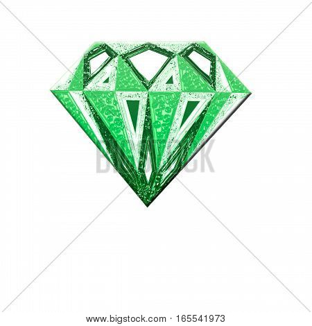 green diamond symbol. Diamond illustration in a flat style. faceted gem