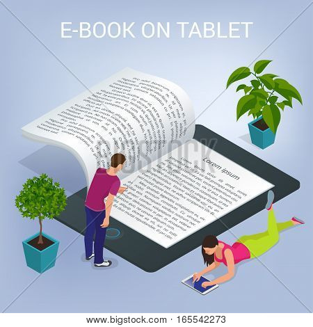 Isometric E-book concept. University Computer Classroom. Online Education and Library with Students. Flat 3d illustration