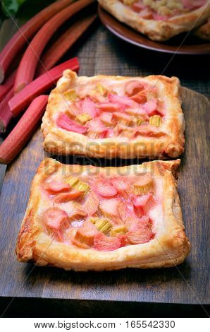 Fresh rhubarb pie on the wooden table