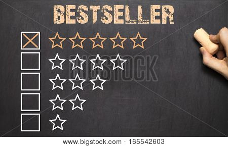 Best Bestseller Five Golden Stars. Chalkboard