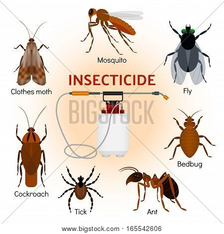 Pest control flat icons set with tick ant mosquito fly cockroach repellent and insecticide isolated in flat style vector illustration