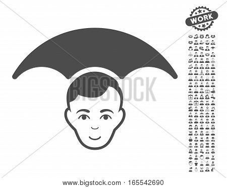 Head Umbrella pictograph with bonus human design elements. Vector illustration style is flat iconic gray symbols on white background.