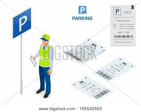 Isometric Parking Attendant. Parking ticket machines and barrier gate arm operators are installed at the entrance and exit of parking area as tools to charge parking fee