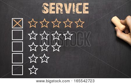 Best Service Five Golden Stars.chalkboard
