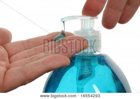 Washing hands with liquid soap isolated on a white background