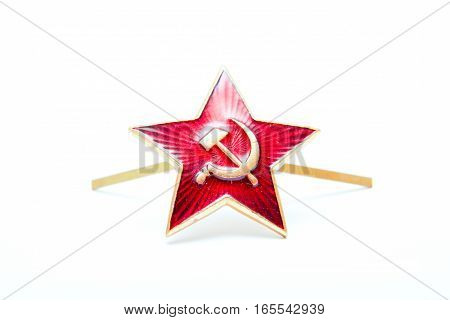 Star Red Army, the Soviet star, star kakarda Soviet troops, isolated on a white background.