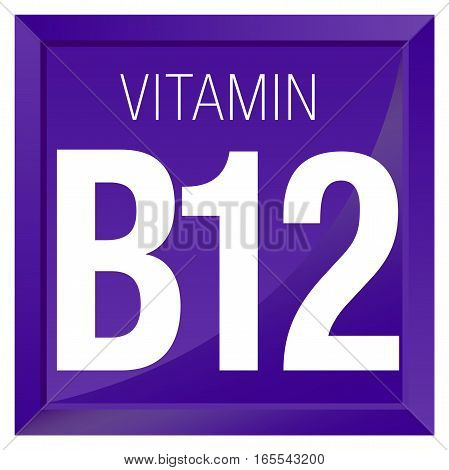 VITAMIN B12 Icon - Chemistry -  square frame with Violet background
