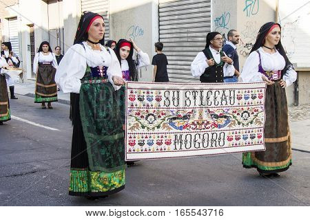 SELARGIUS, ITALY - September 9, 2012: Former marriage Selargino - Sardinia - folk group Su sticcau Mogoro