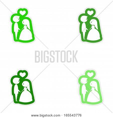 Set of paper stickers on white background bride groom heart