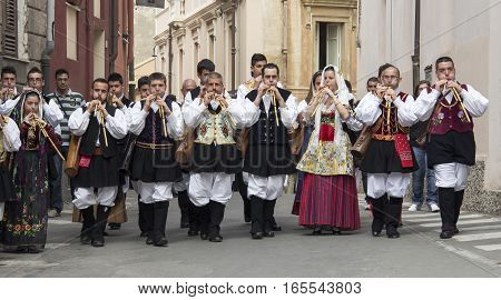 CAGLIARI, ITALY - May 1, 2013: 357 Religious Procession of Sant'Efisio - Sardinia - group of musicians in traditional Sardinian costume