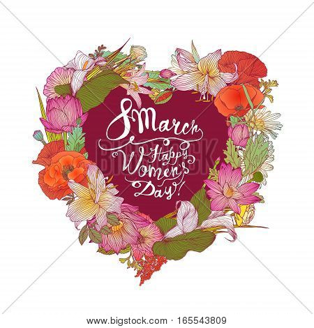 8 March. Happy Woman's Day! Floral Heart