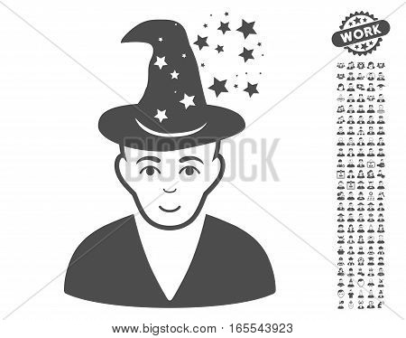 Magic Master pictograph with bonus men pictures. Vector illustration style is flat iconic gray symbols on white background.