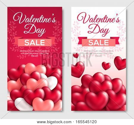 Valentines day Sale Vertical Banners. Glossy Hearts on White and Red Background. Vector illustration. Typographic template for text with cute laurel wreath.