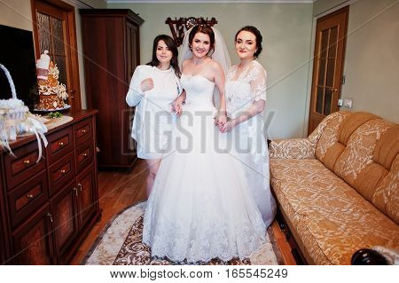 Elegance Brunette Bride With Bridesmaids Posed At Her Room On Wedding Morning Day.