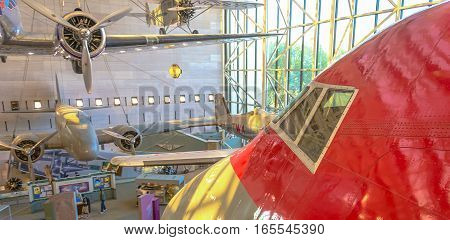Washington, DC, USA, october 30, 2016: Visitors enjoy The National Air and Space Museum of the Smithsonian Institution in Washington DC.