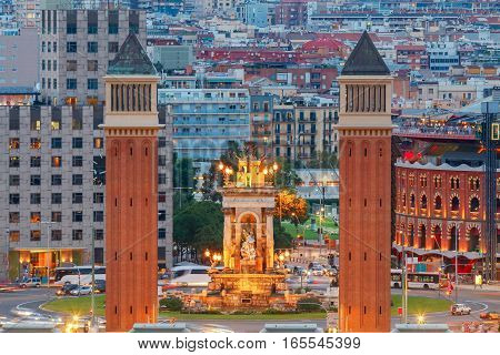 Aerial views of downtown at night. Barcelona. Spain