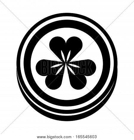 coin with Saint patricks clover icon vector illustration design