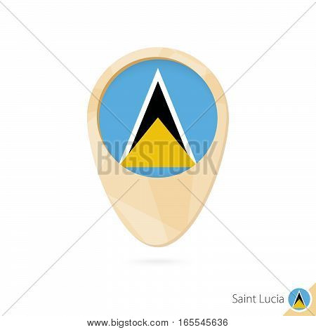 Map Pointer With Flag Of Saint Lucia. Orange Abstract Map Icon.