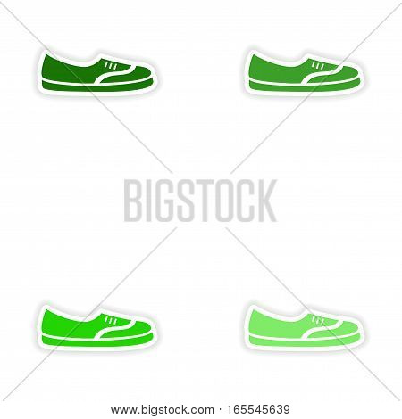concept stylish paper sticker on white background moccasins