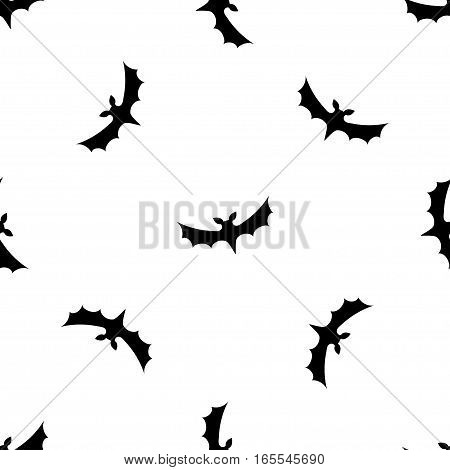 Seamless pattern background with bats. Black on White texture. Halloween