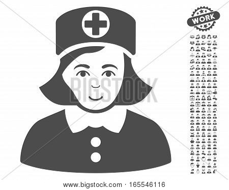 Nurse pictograph with bonus human pictures. Vector illustration style is flat iconic gray symbols on white background.