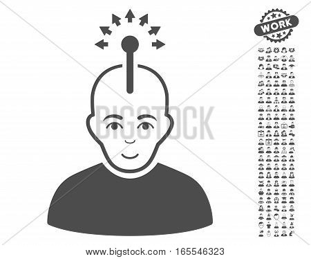 Optical Neural Interface icon with bonus avatar graphic icons. Vector illustration style is flat iconic gray symbols on white background.