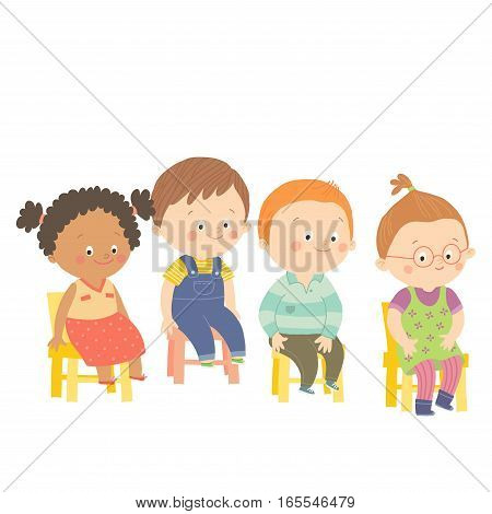 Preschool children sitting on chairs and smiling. Cartoon vector hand drawn eps 10 illustration isolated on white background in flat style.