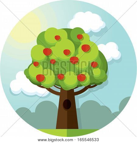 Round vector picture tree apples apple tree among the clouds and sun on blue sky.