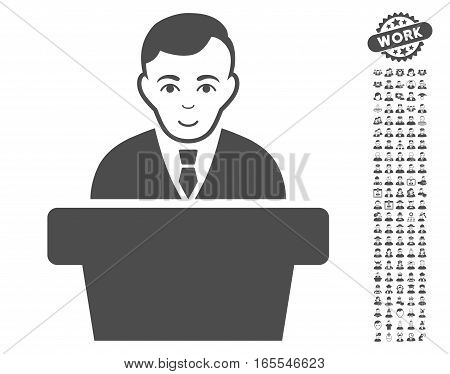 Politician icon with bonus people pictures. Vector illustration style is flat iconic gray symbols on white background.