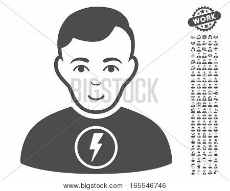 Power Man pictograph with bonus avatar clip art. Vector illustration style is flat iconic gray symbols on white background.