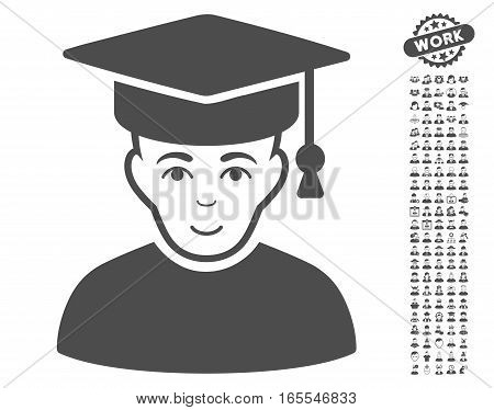 Professor icon with bonus men pictograph collection. Vector illustration style is flat iconic gray symbols on white background.