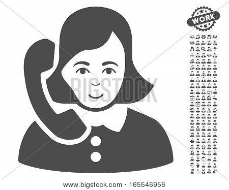 Receptionist icon with bonus human clip art. Vector illustration style is flat iconic gray symbols on white background.
