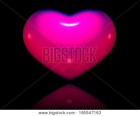 Pink three-dimensional heart isolated on black background for Valentine Day