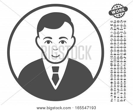 Rounded Gentleman pictograph with bonus occupation symbols. Vector illustration style is flat iconic gray symbols on white background.