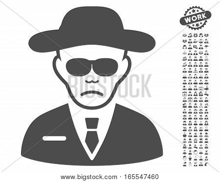 Security Agent icon with bonus occupation icon set. Vector illustration style is flat iconic gray symbols on white background.