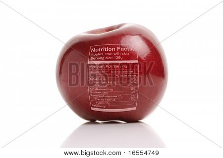 Apple with nutriton facts label, concept for healthy eating or dieting