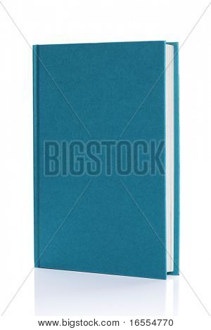 Blank blue hardback book cover ready for text or graphic isolated on white