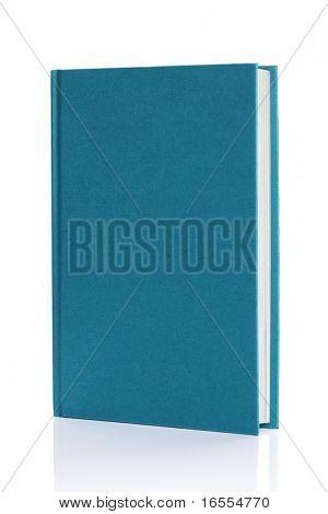 Blatt Blau Hardcover Bücher Deckung bereit für Text oder Grafik isoliert auf weiss