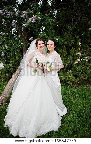 Bride With Bridesmaid Looking At Camera Near Lilac Tree.