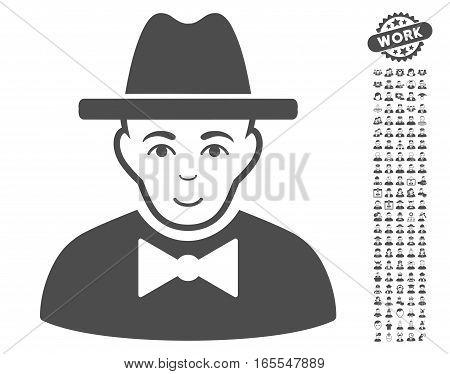 Spy icon with bonus men symbols. Vector illustration style is flat iconic gray symbols on white background.