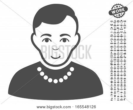 Trendy Guy icon with bonus people pictograph collection. Vector illustration style is flat iconic gray symbols on white background.