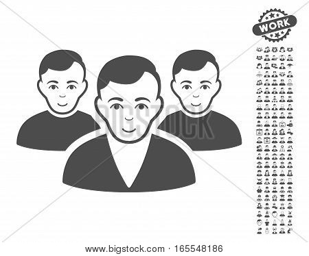 User Group icon with bonus avatar design elements. Vector illustration style is flat iconic gray symbols on white background.